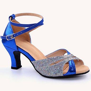 Scarpe da ballo-Personalizzabile-Da donna-Balli latino-americani-Tacco su misura-Finta pelle Brillantini-Blu Rosso Argento Dorato Blue