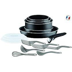 Tefal L2009202 Set de poêles et casseroles - Ingenio 5 Essential Noir 15 Pièces - Tous feux sauf induction