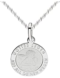 MYA art Premium Kette Halskette 925 Silber mit Engel Anhänger Schutzengel  Engelsflügel Gravur für Damen Mädchen 4a462c1534