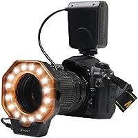 SHOOT XT-103C Macro LED de Luz de Flash de Anillo para Canon 5D Mark III 5D Mark II 650D/T4i 600D/T3i 550D/T2i 1100D/T3 60D 7D Nikon D7000 D3200 D3100 D5100 D5000 Olympus Pentax Cámaras SLR se Adapta a Todas las Lentes de Diámetro de 52mm 55mm 58mm 62mm 67mm 72mm 77mm