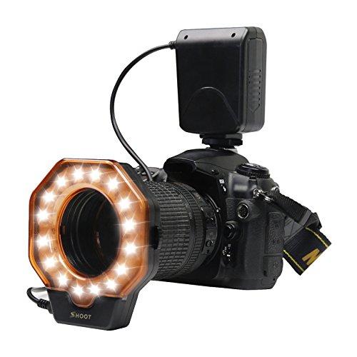 SHOOT SL-103C Led Macro Ring-Blitz-Licht für Canon 5D MarkIII 5D Mark II 650D / T4i 600D / T3i 550D / T2i 1100D / T3 60D 7D Nikon D7000 D3200 D3100 D5100 D5000 Olympus Pentax SLR-Kameras passt alle Linse mit einem Durchmesser von 52 mm 55mm 58mm 62mm 67mm 72mm 77mm