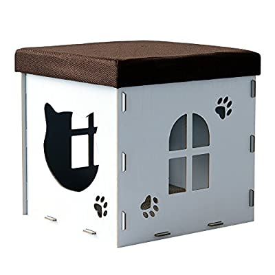 PawHut Cat Cave Pet House Shelter Footstool Upholstered Lid with Scratching Pad 41 x 41 x 41cm