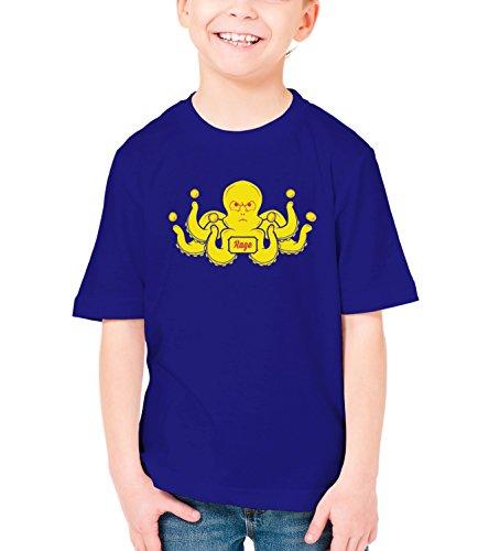 Three Monkeys Yelow Octopus Animals Collection Boys Classic Crew Neck T-Shirt Dark Blue Large
