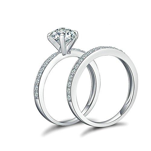 SonMo Ringe 925 Silber Solitär Ring Weiß Damen Ring Diamant Zirkonia Paarringe Eheringe Heiratsantrag Ring Damen Größe 64 (20.4)