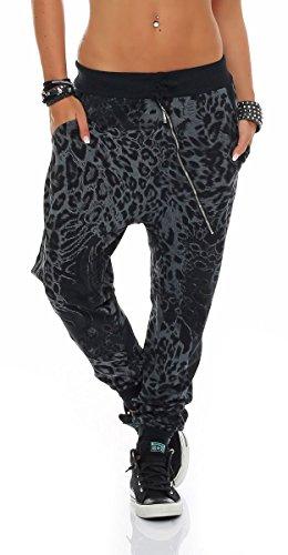 Malito Damen Sweatpants im Leo Design | Sporthose mit Reißverschluss | Baggy zum Tanzen | Jogginghose - 3344 (schwarz)