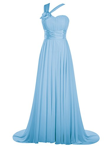 Dresstells, Robe de cérémonie Robe de soirée Robe de gala une épaule traîne moyenne Bleu
