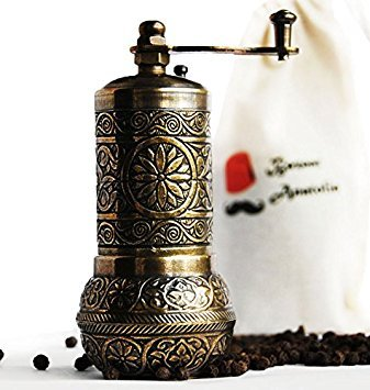 Türkische handgefertigt Mahlwerk, Gewürzmühle, Salzmühle, Pfeffermühle 10,7cm Casual 4.2'' 3-Antique Gold Gold Coffee Grinder