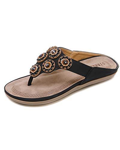 Sandali da donna da estate,sandali da donna da estate bassi sandali elegante perline decorate, fiore di strass t-strap scarpe da spiaggia nero eu 38
