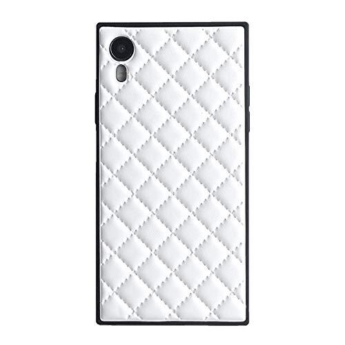 Square Grid Ledertasche für iPhone XR luxusgitter rhombische schaffell Vintage chic stilvolle Abdeckung schlank weich Flexible stoßfest Kofferraum zurück Shell (iPhone XR 6.1'', White)