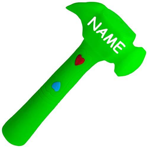 alles-meine.de GmbH Gummihammer / Softhammer / Hammer - Quietscher -  grün  - inkl. Name - BPA frei ! - Quietschtier - Spielzeughammer weicher Gummi Babyhammer / Kinderhammer -..