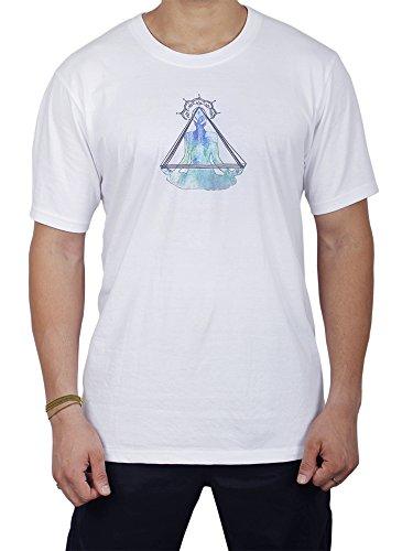 Baumwolle Unisex Yoga T-Shirts Kurzarm komfortabel Casual Herren T-Shirts mit blauem Buddha Spirituellen Design Für Sport Jogging Turnhalle laufen T-Shirt (Blau und weiß- Herren, L)