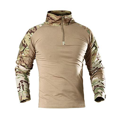 LHHMZ Herren Military Langarm-Shirt Schwarz Combat Jagd Wandern Schießen Shirts mit Reißverschluss für Casual & Outdoor