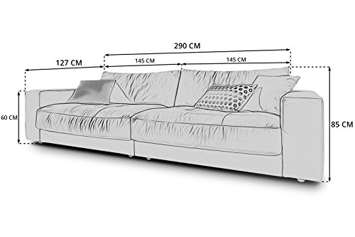 Designer XXL Big-Sofa Kingston Candy-Polstermöbel 3C Lounge-Couches 3-4-Sitzer, Gratis Farbwahl