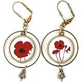Orecchini cabochon, fiori di papavero rosso, bianco e bronzo,