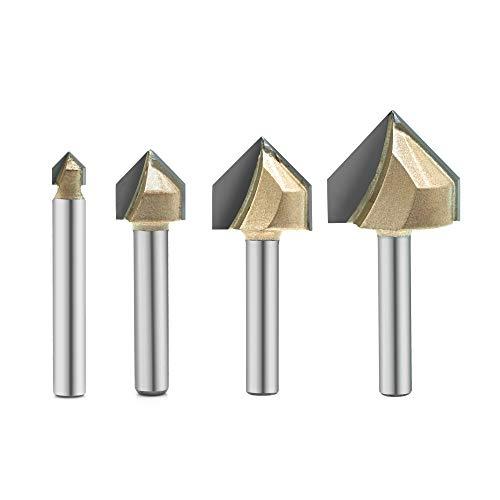4 x V-Nutfräser-Bit, 90 Grad, Titanbeschichtet, Hartmetall-Spitze, CNC-Gravur-Bit, Holzbearbeitung, Fasenschneider, 6,35 mm Schaft
