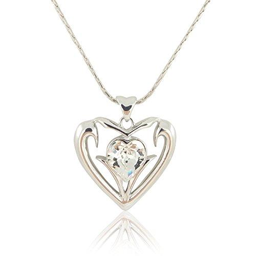 nobel-schmuck Damen-Kette Herz mit Kristall von Swarovski® Silber Halskette