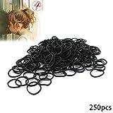 Hilaï Lot de 250Petit Mini Cheveux élastiques en caoutchouc pour tresses (Noir)