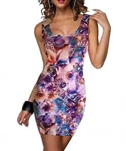 Donna e fiori mini Dress Club, con collo rotondo, Casual Vestito estivo, taglia 10-12