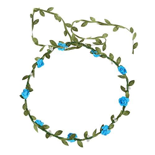 Bandeau-SODIAL(R) Dame Boho Floral Fleurs Festival Mariage guirlande Front Bandeau de cheveux Bleu