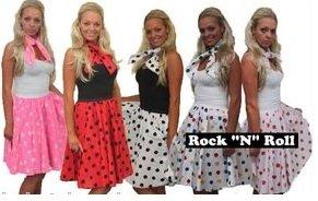 Motif à pois 66 cm Full Circle Rock N Roll Jupes et tour de cou robe taille 8-14
