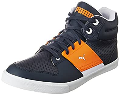 Puma Unisex's El Ace 2 Mid PN II DP New Navy and Sun Orange Sneakers - 6 UK/India (39 EU) (36136701)