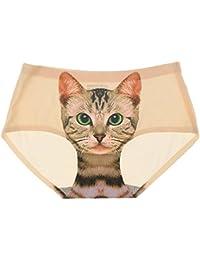 Prettyia Bragas Atractiva Invisible Ropa Interior Lencería Impresión Minino  Gato para Mujer de Tamaño Libre 6d9fc75bddc1