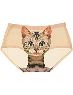 Prettyia Bragas Atractiva Invisible Ropa Interior Lencería Impresión Minino Gato para Mujer de Tamaño Libre