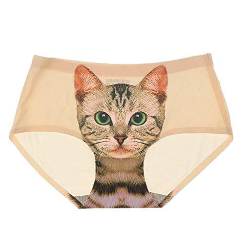 Prettyia Bragas Atractiva Invisible Ropa Interior Lencería Impresión Minino Gato para Mujer de Tamaño Libre - Beige, una talla para todos