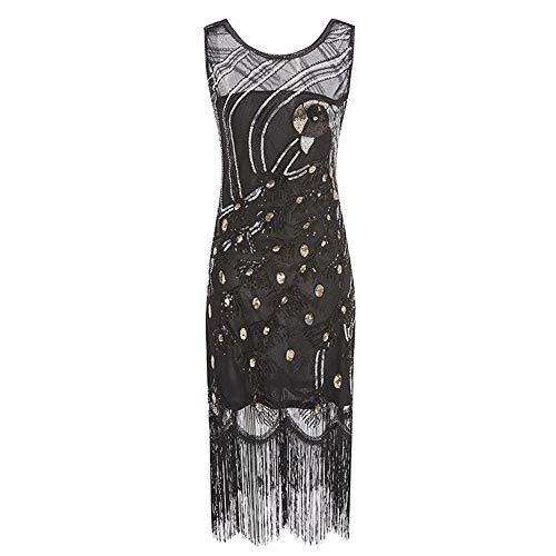 ZLDDE Damen Pfau Flapper Kleid Party Damen Fasching Kostüm Kleid (Indische Wolf Mädchen Kostüm)