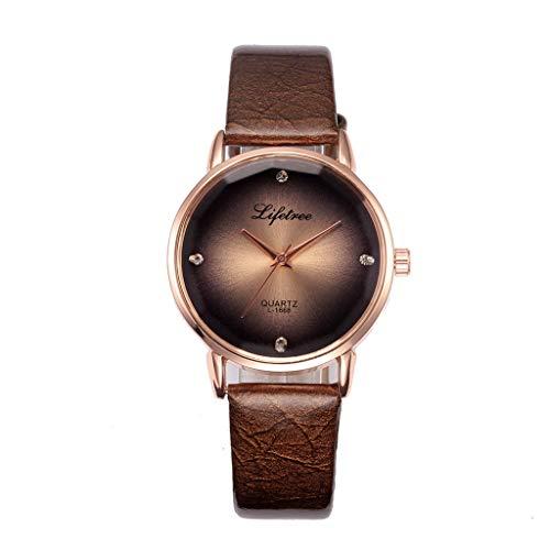 HULKY High-End-Qualität Exquisite Design Unisex-Uhr Upgrade Glasspiegel Einfarbig Ledergürtel Kreativ Stilvolle Herren- Und Damenarmbanduhr(Kaffee)