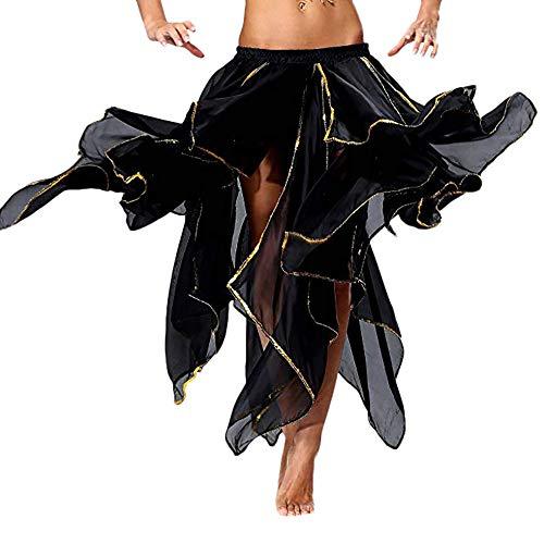 Damen Fashion Röcke, Trisee✔ Gute Qualität Neues Damen Bauchtanz Rock Kostüm Tanzen Ausbildung Chiffon Röcke Kleid Performance Bekleidung Bauchtanzrock Tanzrock Gold gewellt Rock (Kostüm Gutschein 25)