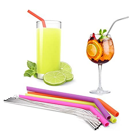 ATKKE Reusable Silicone Straws (4 pack) and Stainless Steel Straws (4 pack) for 30 oz Tumbler Yeti / Rtic Complete Bundle, Cleaning Brushes and Storage Pouch