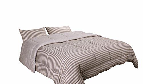 Newpoint Luxus Natur 100Prozent Jersey Baumwolle waschbar gewebtem Streifen Tröster Mini Set, Full/Queen, melange grau