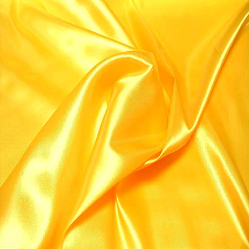 TOLKO Satin Meterware mit edlem Glanz ALS Mode- Gardinen- und Vorhang-Stoff in Sonnen Gelb | Breite: 110 cm | Preiswert, Blickdicht und Pflegeleicht, Zum Nähen und Basteln