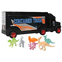 Zerodis. 6 in 1 Portable Carrying Container Car Toy Set, Die-Cast Carrier Play Vehicle with 6 Dinosaur Toys Best Gift for Kids Above 1 Years Old