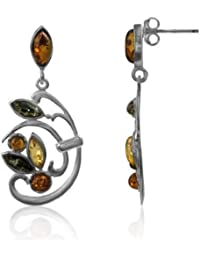 Multicolor Amber Sterling Silver Floral Earrings