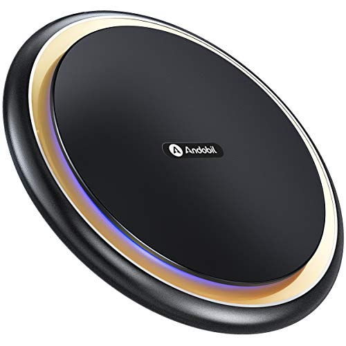 andobil Wireless Charger, 15W Fast Induktive Ladestation Qi Induktions Ladegerät Also 10W 7,5W 5W Vier Lademodi für iPhone 11/11 Pro/11 Pro max/XS/XR/X/8/8+Samsung Galaxy S10/S10+/S9 Note9 S8/S8+ Usw.