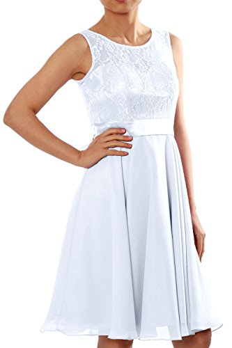 MACloth Women Short Lace Chiffon Bridesmaid Dress Cocktail Party Formal Gown Weiß