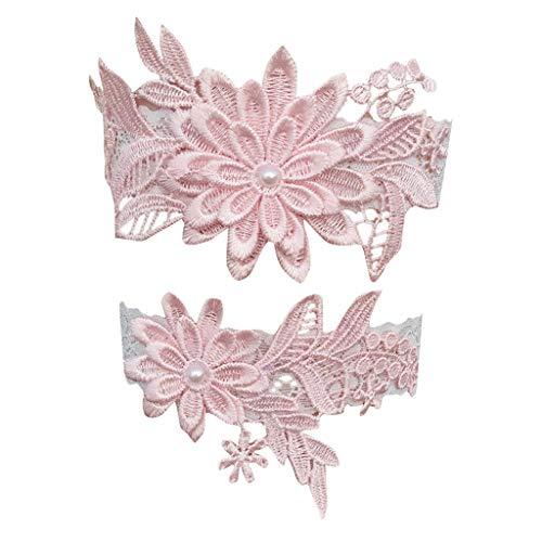 n-Spitze-Strumpf Set Hochzeit Strumpfgürtel Blumenblumenmuster Braut Bein Ring Strap Blau ()