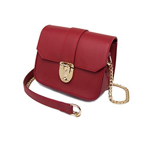 c4d96212c63c2 Damen Ketten Tasche Schultertasche Umhängetasche Mode Elegante Vintage  Kleine Handtaschen Mini Black Bag Red
