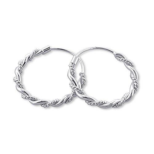 Orecchini a cerchio di Bali in argento 925/000rodiato. Orecchini a cerchio etnici ritorti a treccia, diametro 16mm