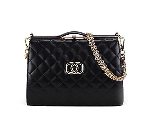 Wewod Koreanisch Damen Glatte Textur Einfarbige Prägung Gitter Kette Shell Tasche Diagonalen Umhängetasche Schulter Messenger Bag (Schwarz)