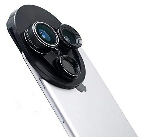 CMERONE 4-in-1 Handy-Kamera-Objektiv-Set, 15-Fach Makroobjektiv + 120°/0,63X Weitwinkelobjektiv + 198° Fischaugenobjektiv + CPL polarisierte Linse, für iPhone & Android