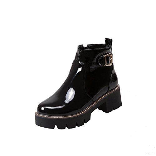 Y2Y Studio Femmes Boots de Pluie Vernis de Cheville Hiver 2017 Talons Plates Talon Bloc avec Boucle Conforts