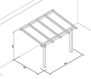 Pergola addossata 4x3 in legno lamellare impregnato in for Gazebo 4x3 amazon