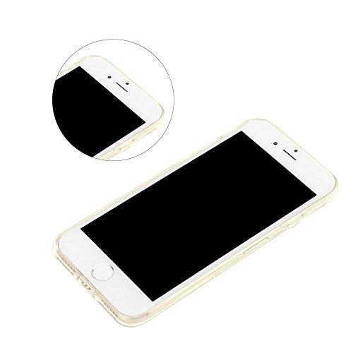 MOMDAD iPhone 7 Coque iPhone 7 TPU Souple Coque pour iPhone 7 Etui avec Art Motif Pattern Couleur Image Coque de Protection pour iPhone 7 TPU Transparente Silicone Case iPhone 7 Transparent étui Houss Transparent-Or