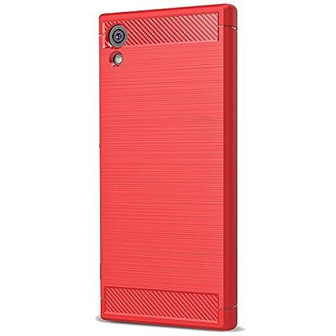 Sony Xperia XA1 Ultra Coque, Ferlinso Flexible Rugged Armour Hybrid Defender Housse de protection contre les chocs Housse de protection en fibre de carbone avec [Protection écran] pour Sony Xperia XA1 Ultra (Rouge)