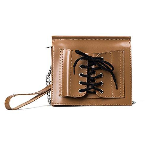 KYFW Womens Fashion Schnürsenkel Umschläge Packet Persönlichkeit Pure Farbe Schultertasche Trend Oblique Cross Wild Handtaschen D