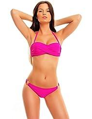 UUstar® Damen Bikini Satz Twist Bandeau Tops and Cheeky Hipkini bottoms Wattierten Cups Badeanzug
