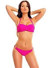 UUstar® Damen Bikini Satz Twist Bandeau Tops and Cheeky Hipkini bottoms Wattierten Cups Badeanzug